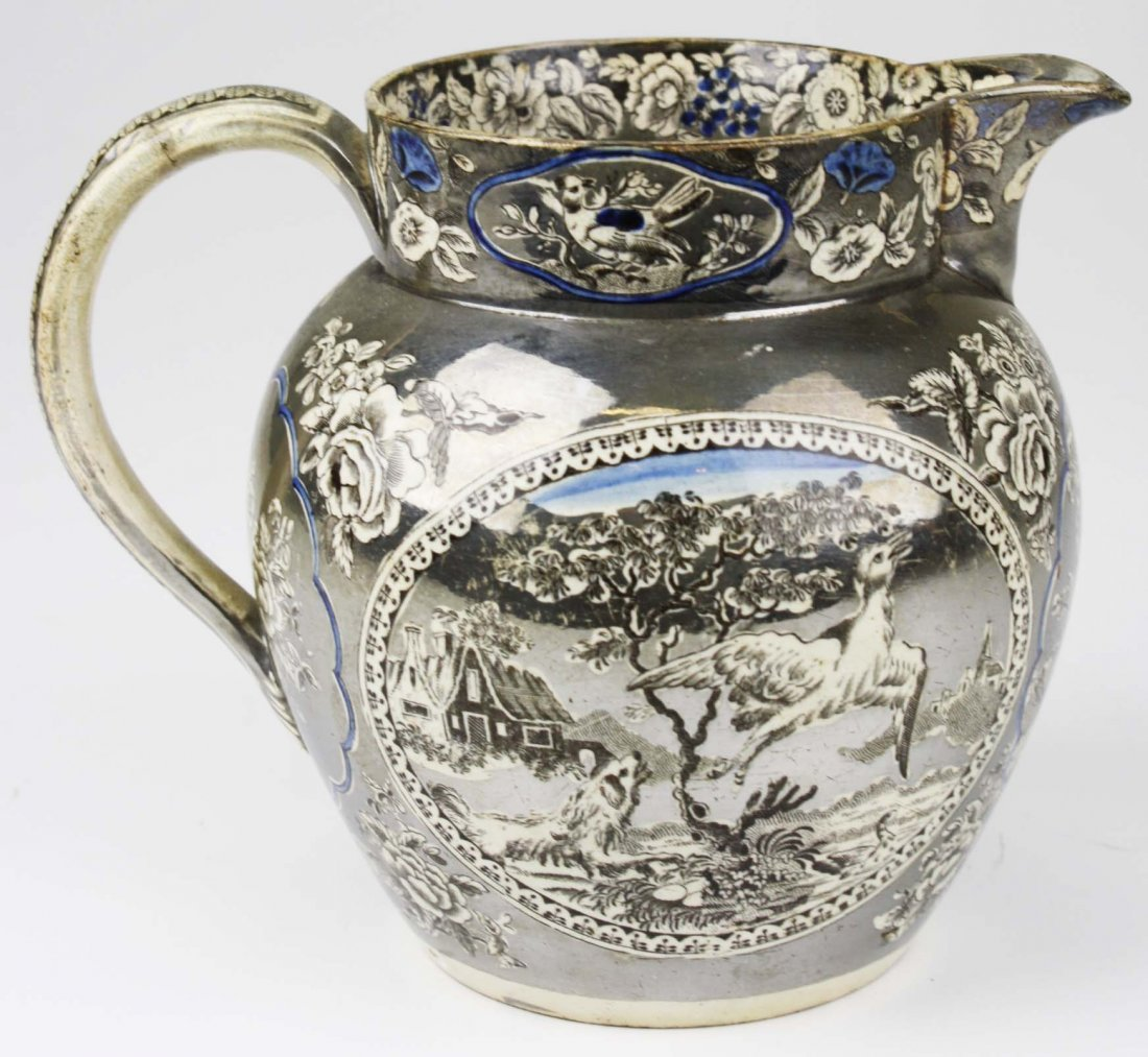 English silver resist lustre transfer decorated
