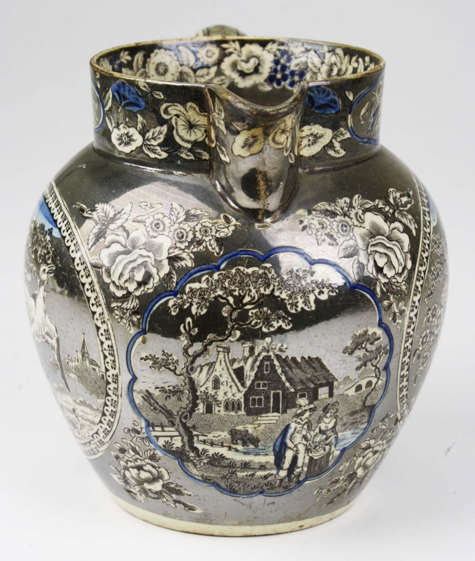 English silver resist lustre transfer decorated - 2
