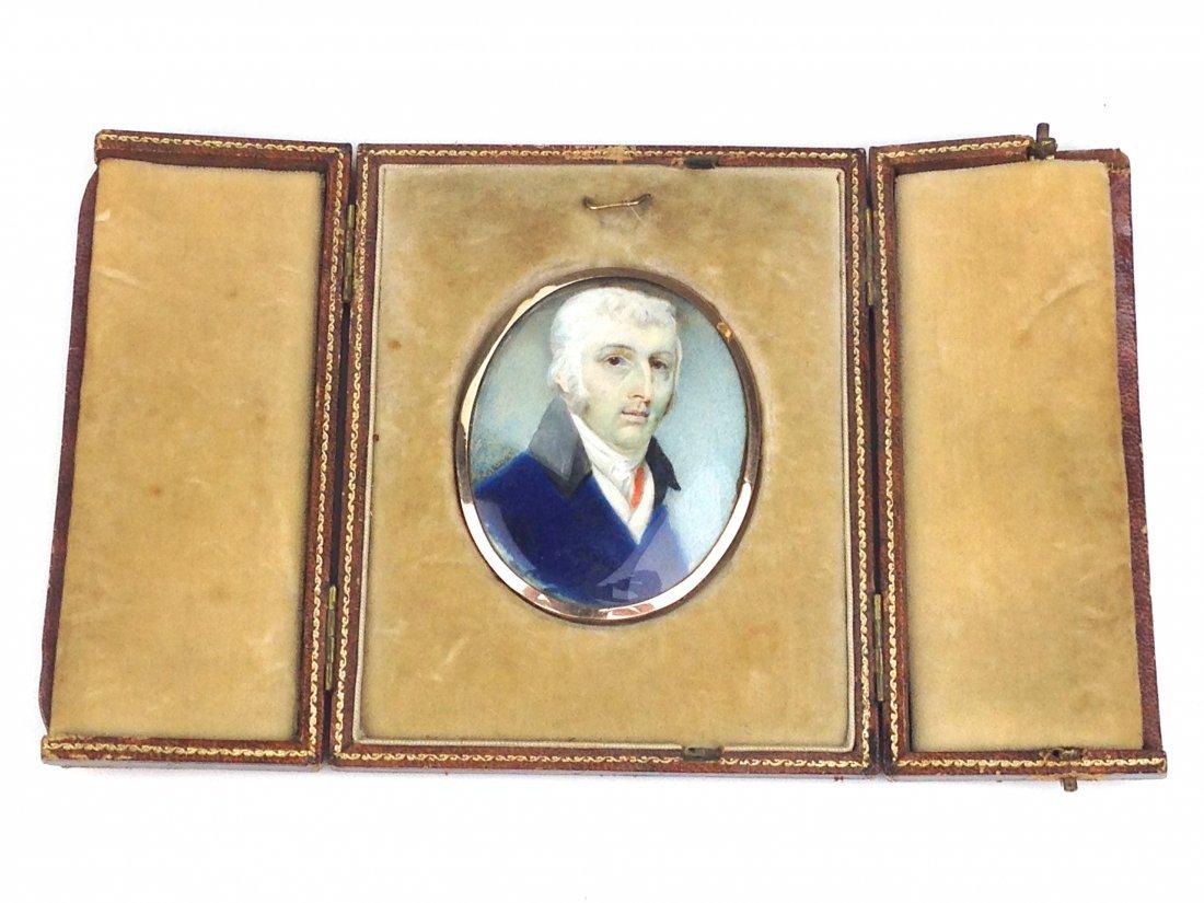 18th c. miniature oil portrait of elderly gentleman in
