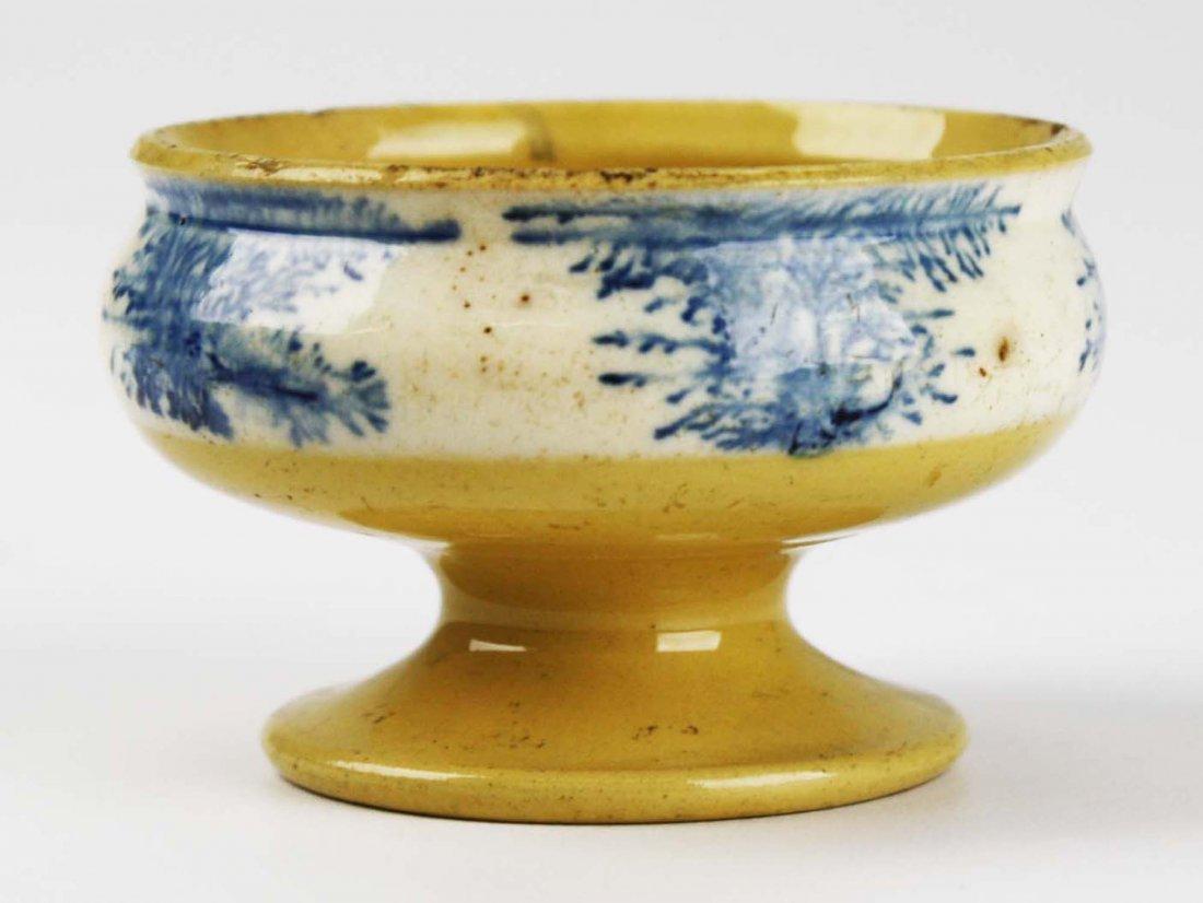 rare early 19th c mocha ware master salt with seaweed