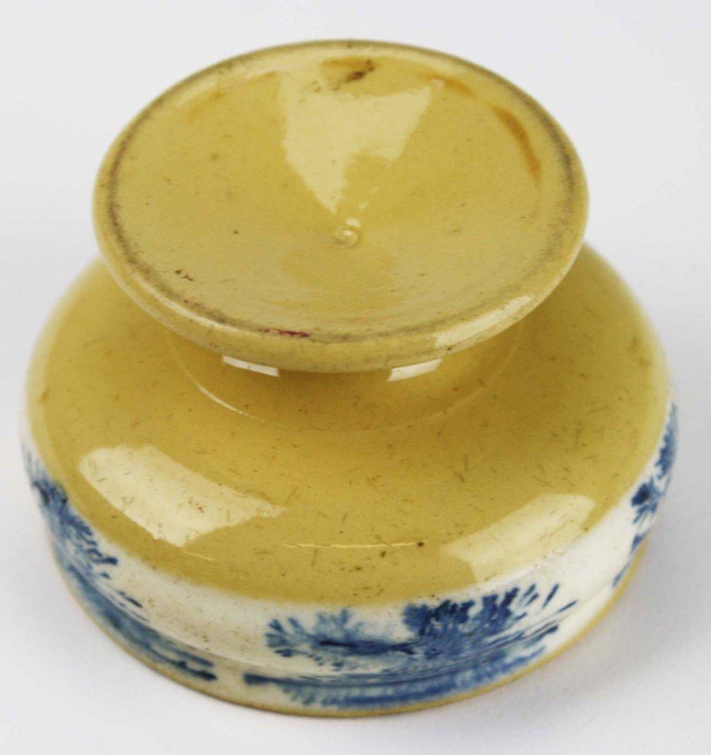 rare early 19th c mocha ware master salt with seaweed - 3