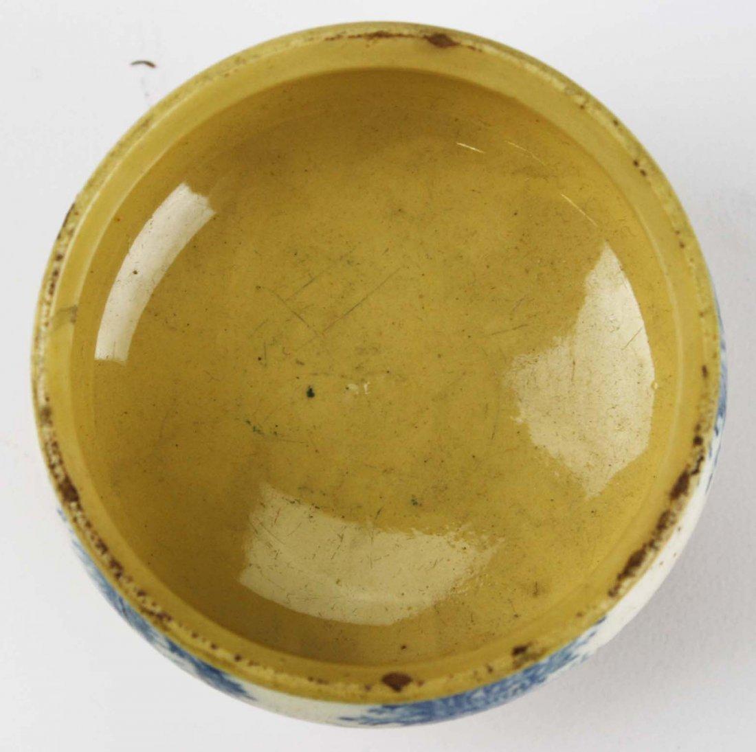 rare early 19th c mocha ware master salt with seaweed - 5