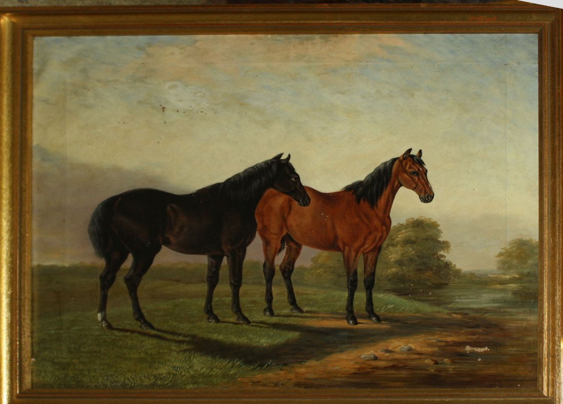 19th c American School genre painting of two horses on
