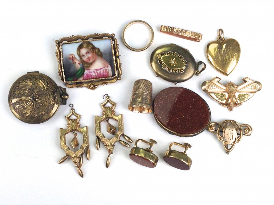 lot of 14 pcs. Victorian gold jewelry incl. 3 pc oval