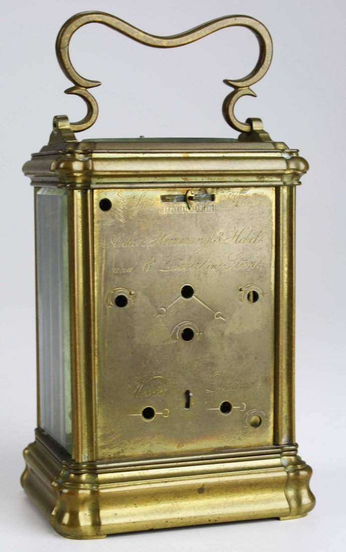 """late 19th c Swiss carriage clock signed """"Anker Hemming - 3"""