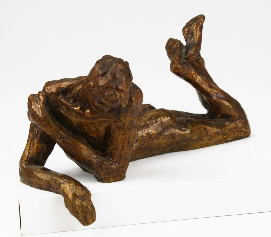 Victor Salmones (1937-1989) signed bronze of man in
