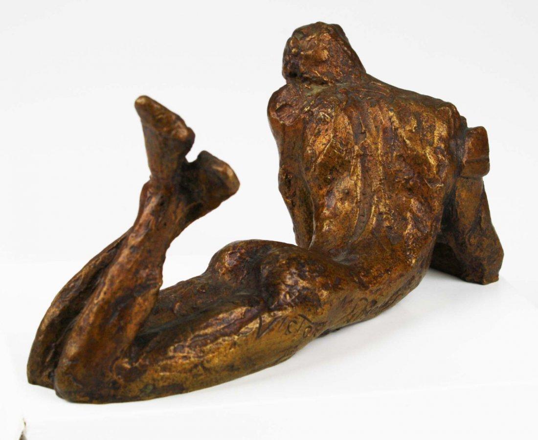 Victor Salmones (1937-1989) signed bronze of man in - 4