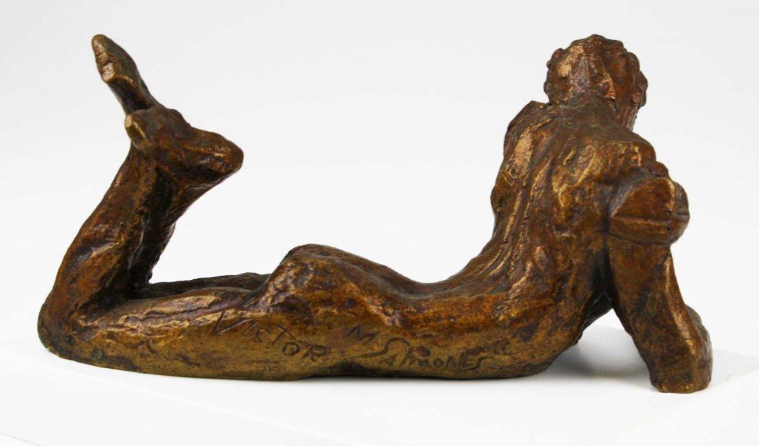 Victor Salmones (1937-1989) signed bronze of man in - 5
