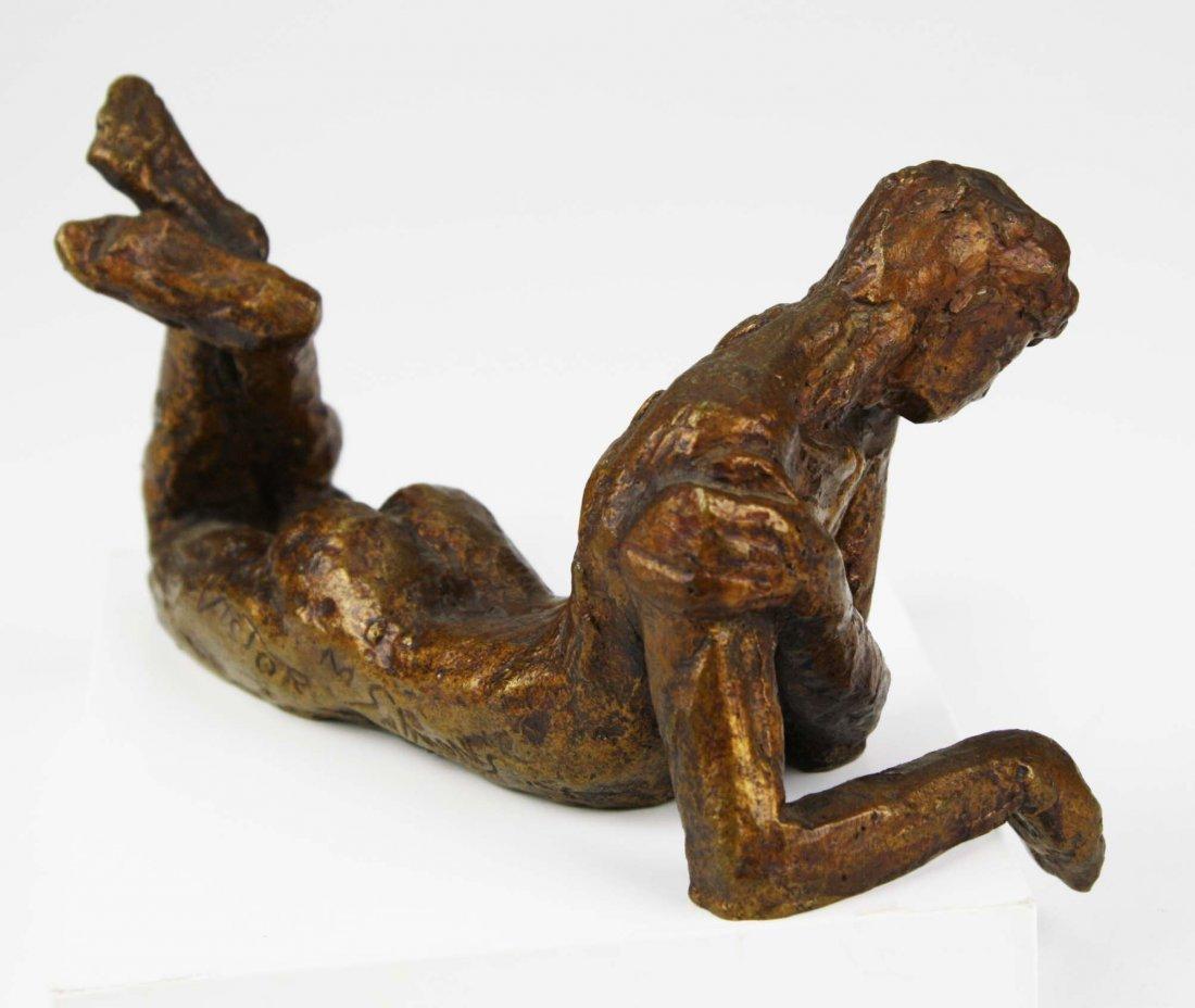 Victor Salmones (1937-1989) signed bronze of man in - 7