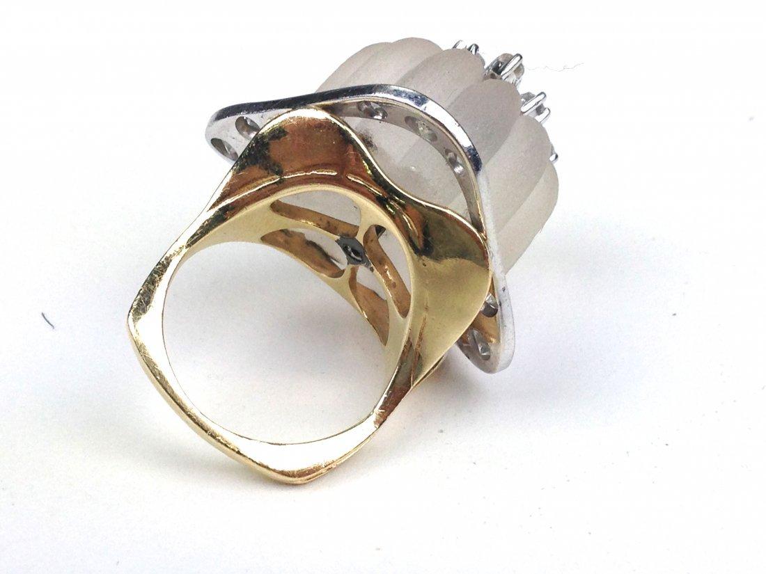 Lalique 14k yellow gold ladies cocktail ring having - 2