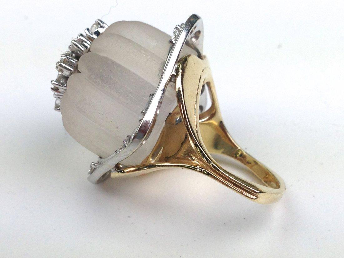Lalique 14k yellow gold ladies cocktail ring having - 3