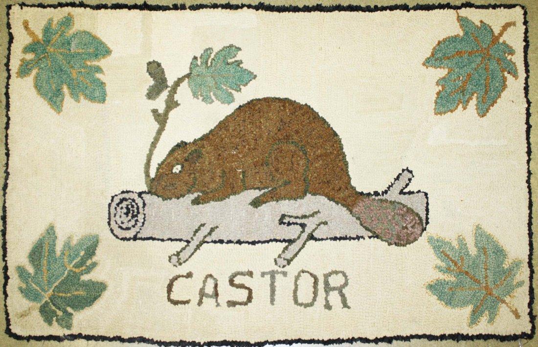 "late 19th c Quebec ""castor"" (beaver) hooked rug, 1' 10"""