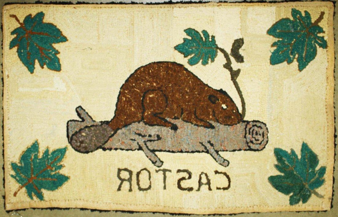 "late 19th c Quebec ""castor"" (beaver) hooked rug, 1' 10"" - 2"