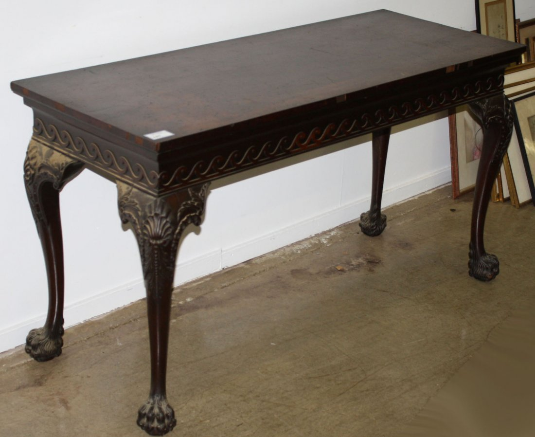 Great carved Chippendale hairy paw foot side table,