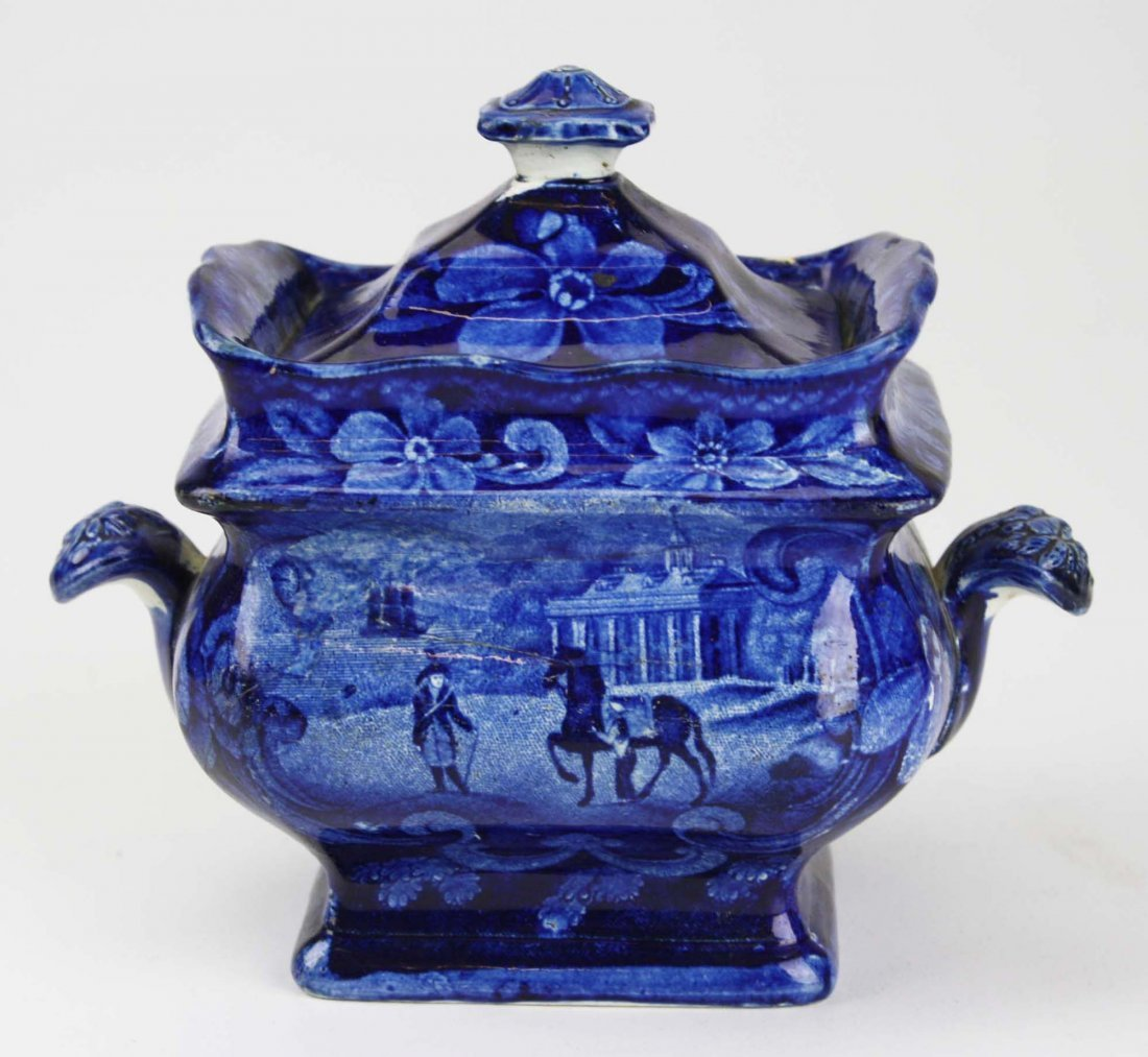 19th c. deep blue Staffordshire historical transferware