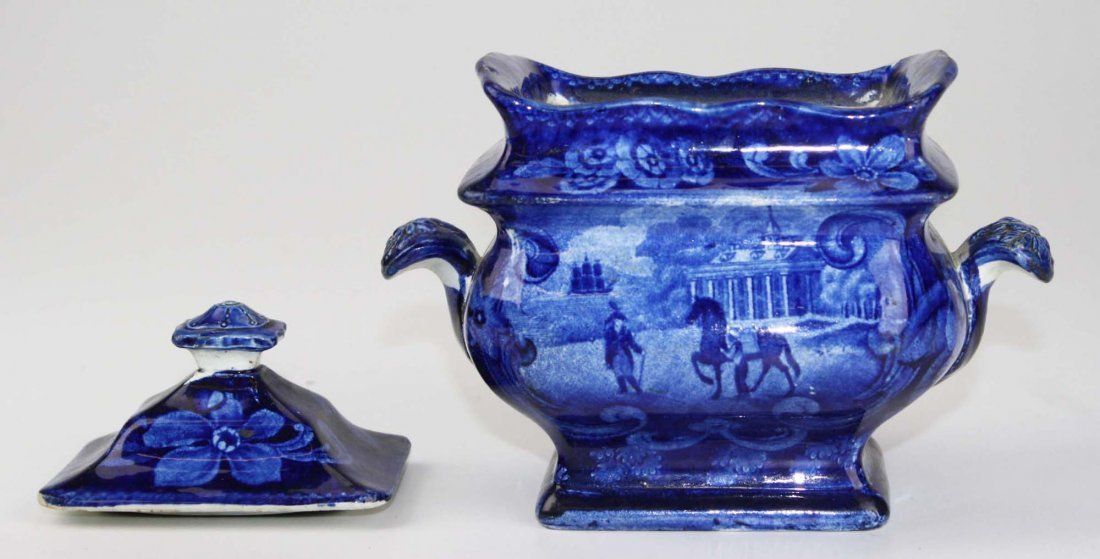 19th c. deep blue Staffordshire historical transferware - 2