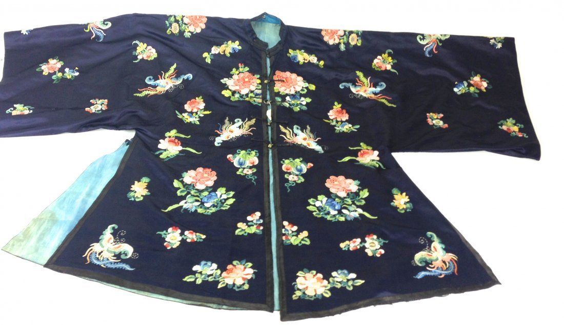 Chinese silk deep blue robe/shirt with whip stitch silk