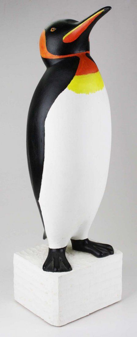 Contemporary Folk Art wood carving of a penguin by