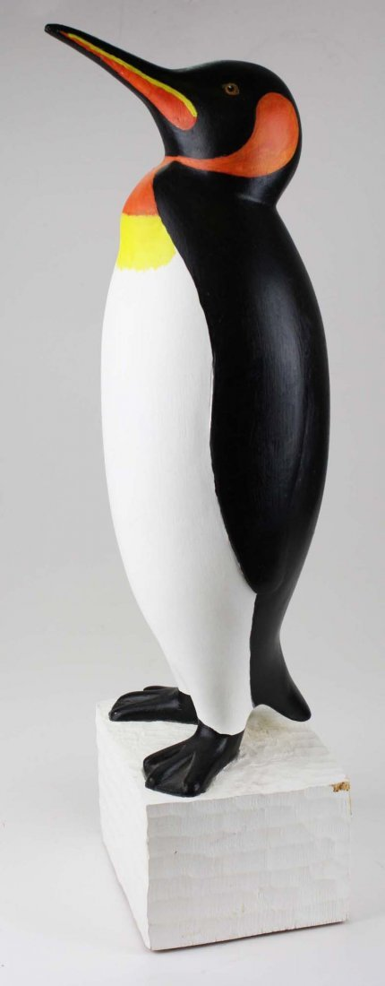 Contemporary Folk Art wood carving of a penguin by - 3