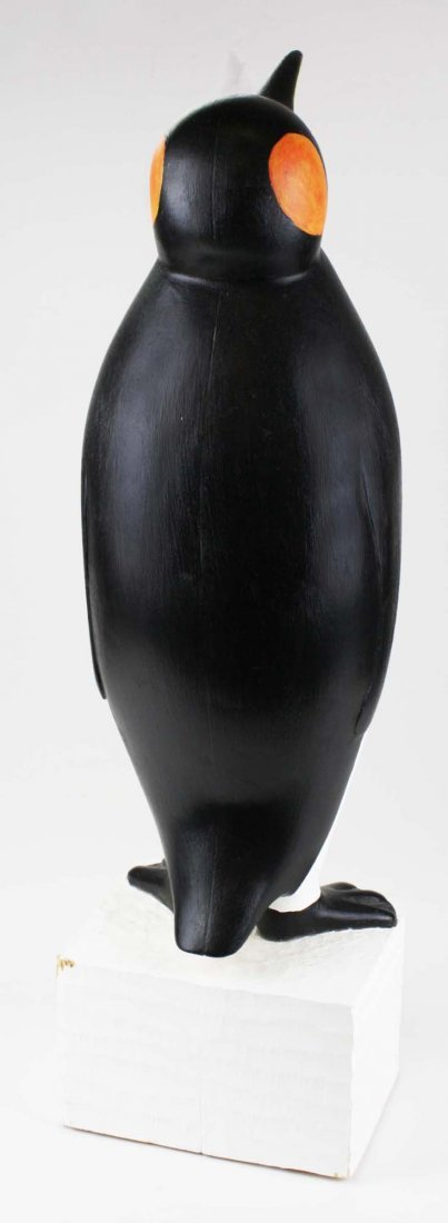 Contemporary Folk Art wood carving of a penguin by - 4