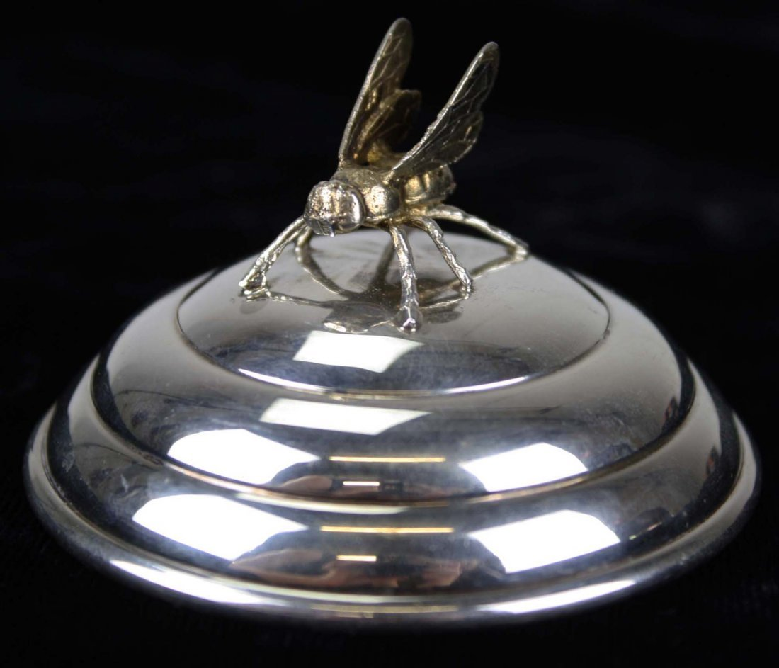 Sterling silver domed honey pot lid with gold wash bee. - 3