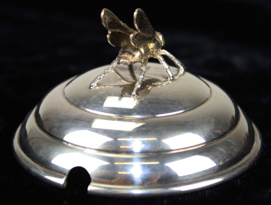 Sterling silver domed honey pot lid with gold wash bee. - 4