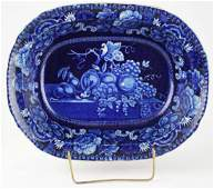 19th c. deep blue Staffordshire transferware oblong