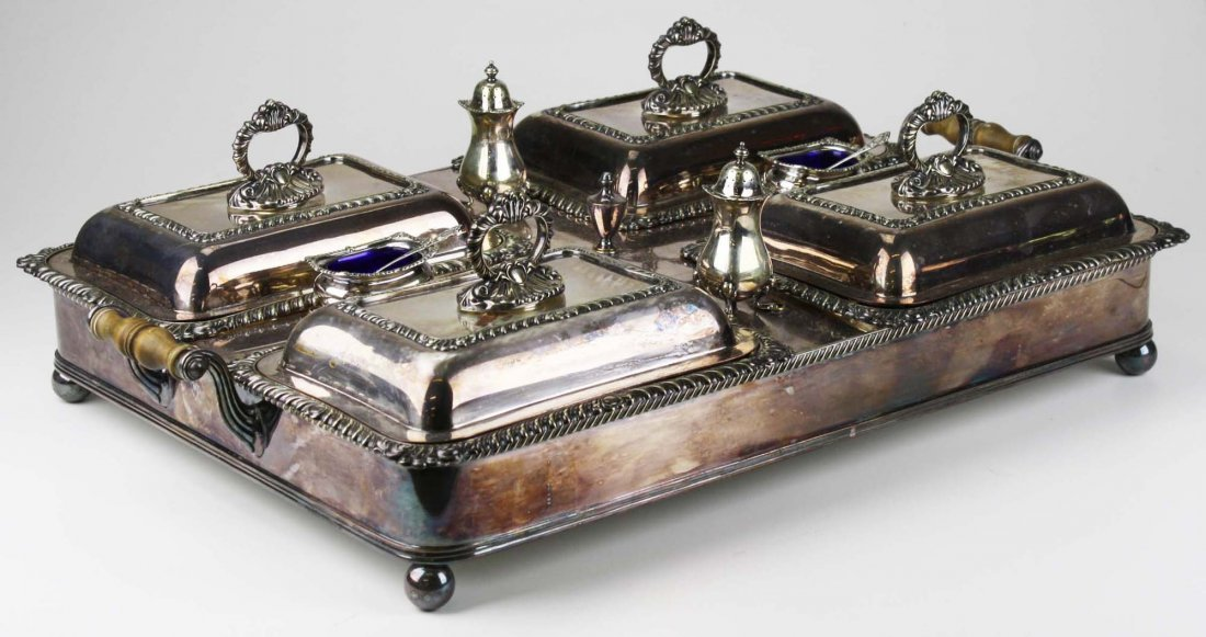 Wonderful silver-plate warming tray with 4 covered - 2