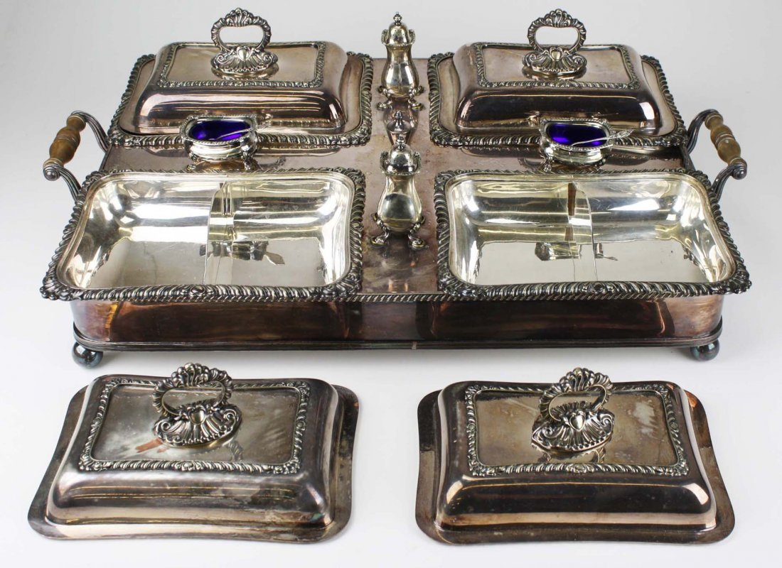 Wonderful silver-plate warming tray with 4 covered - 3
