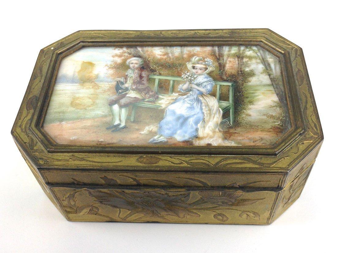 20th c.  fine gilt brass rectangular box with French