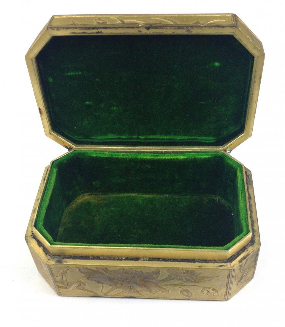20th c.  fine gilt brass rectangular box with French - 2
