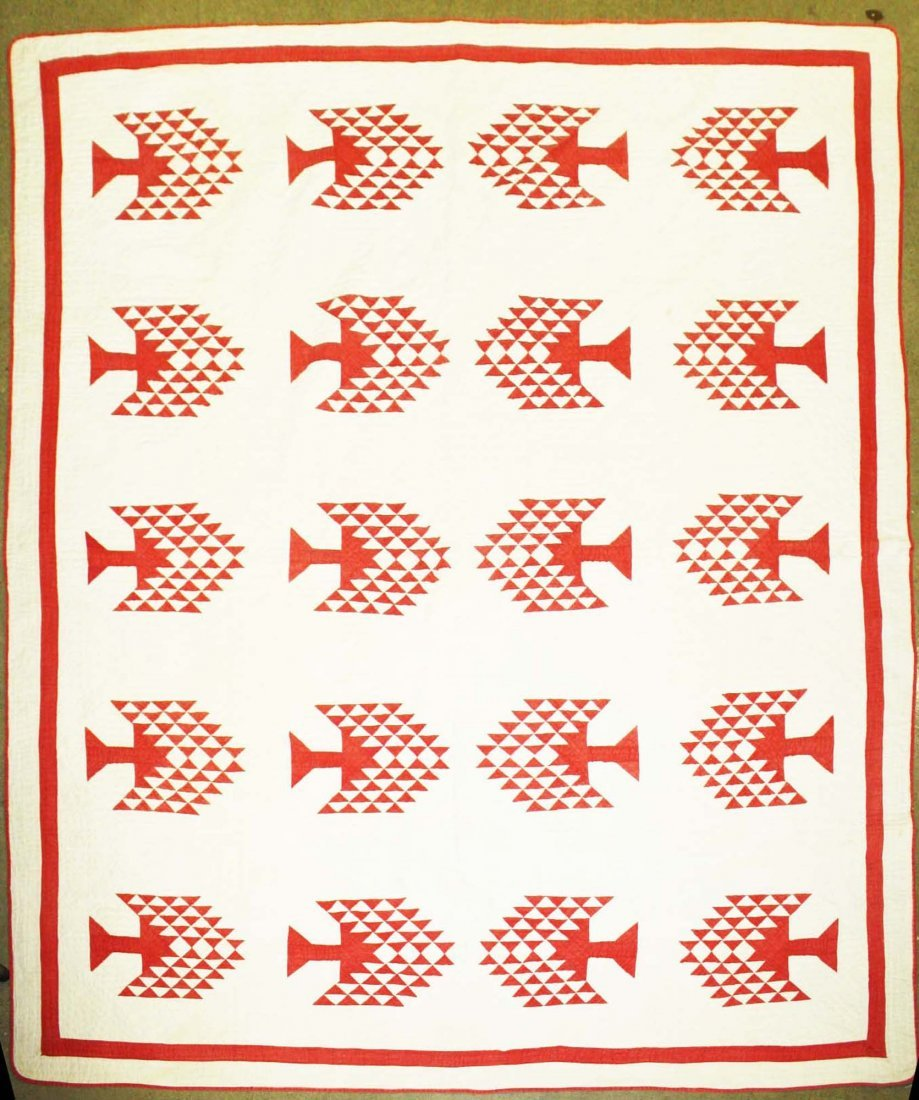 late 19th c pine tree pattern quilt, red & white, 7' 1""