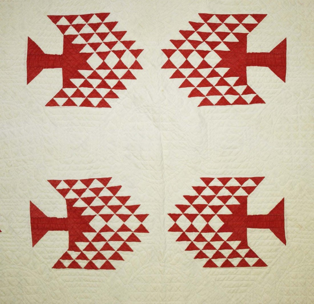 "late 19th c pine tree pattern quilt, red & white, 7' 1"" - 3"