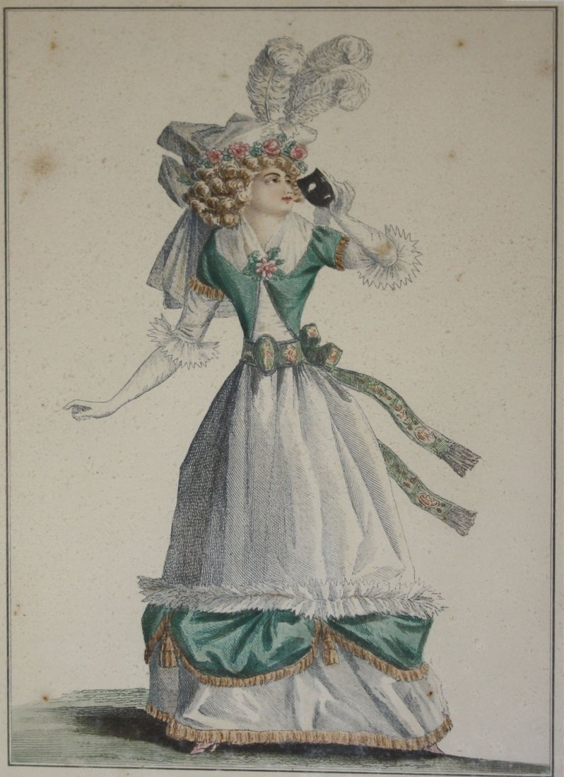 Three 18th c French hand colored fashion engravings