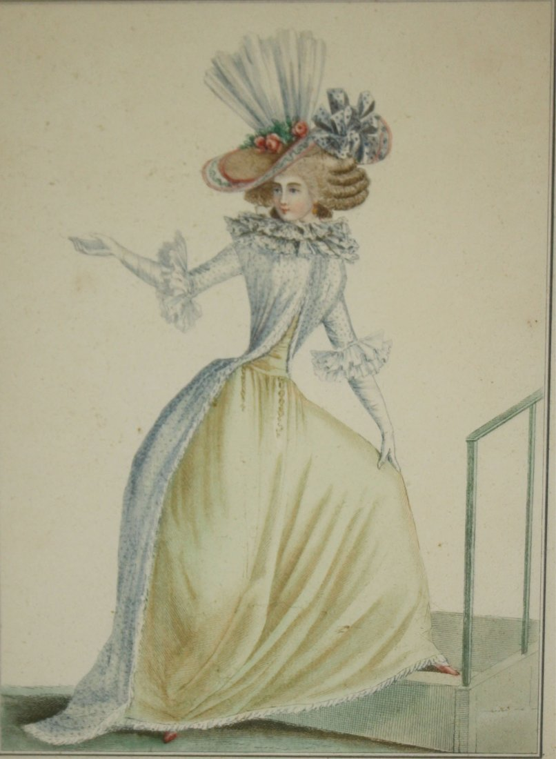 Three 18th c French hand colored fashion engravings - 2