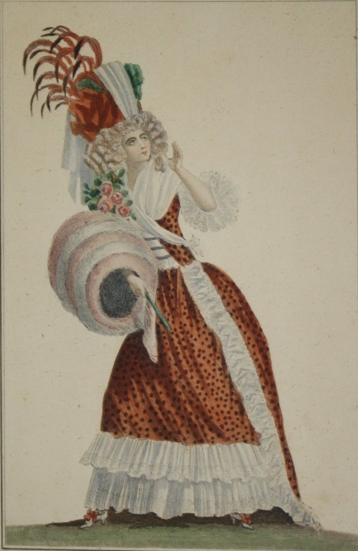 Three 18th c French hand colored fashion engravings - 3