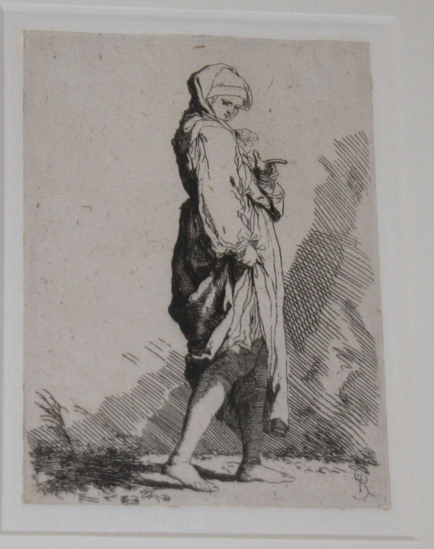 Salvatore Rosa (Italian  1615-1675) etching of a young