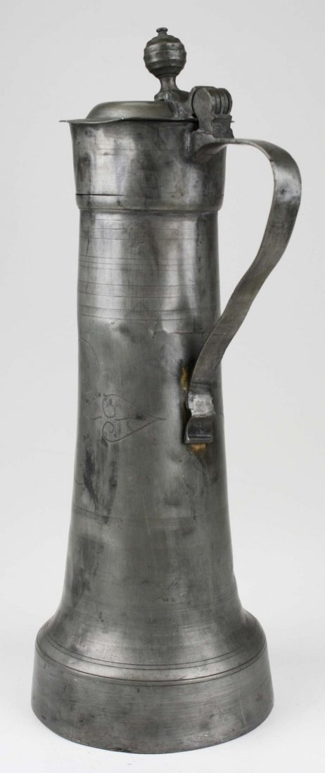 18th c pewter communion flagon, inscribed I C K 1771, - 4