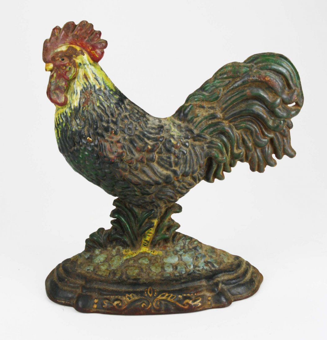 """early 20th c rooster cast iron doorstop, ht 11 1/2"""""""