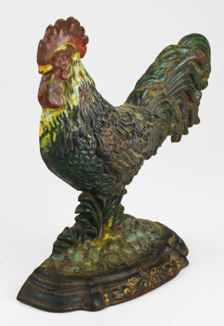 """early 20th c rooster cast iron doorstop, ht 11 1/2"""" - 2"""
