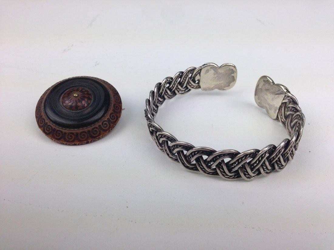Unmarked Navajo silver woven form bangle bracelet