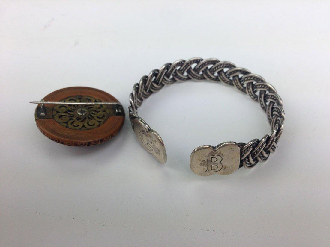 Unmarked Navajo silver woven form bangle bracelet - 2