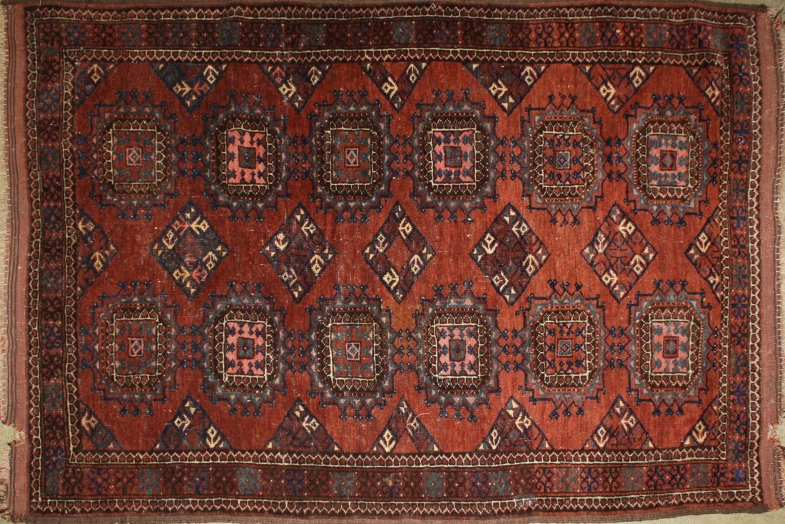 early 20th c Tekke Salor area rug with two rows of six