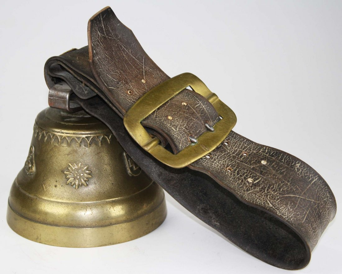 19th c Swiss cow bell with leather collar &brass