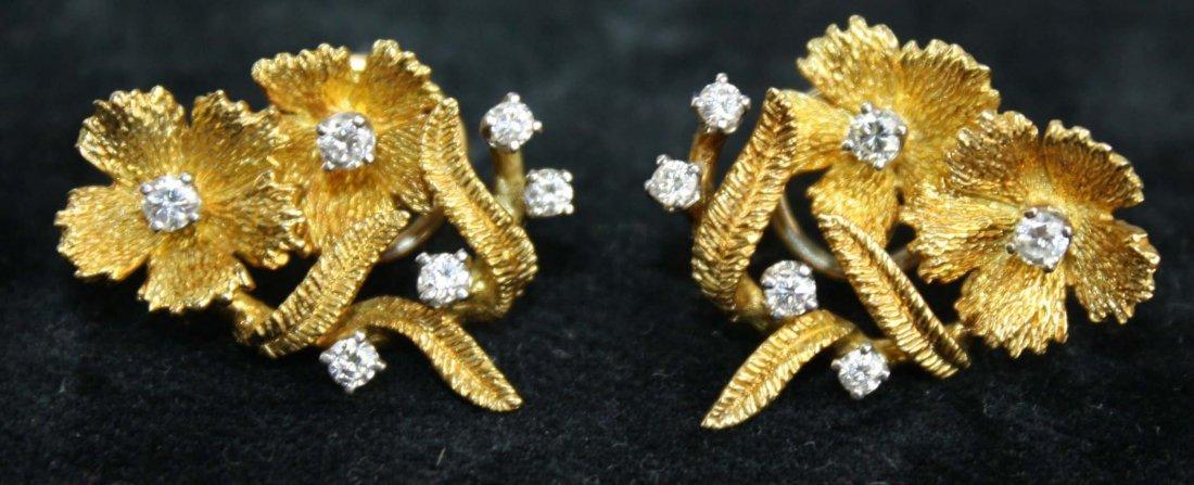 pr of 18k yellow gold & multi- diamond earrings, each