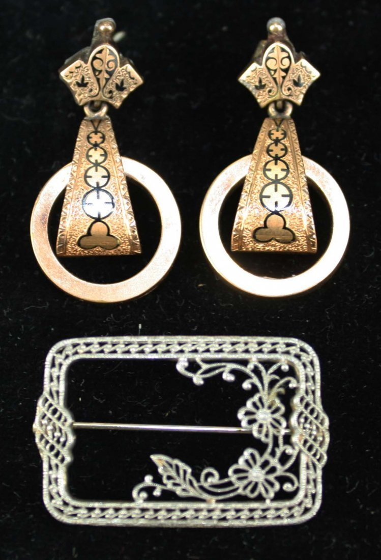 14 K white gold pin, Pair of Victorian earrings (test