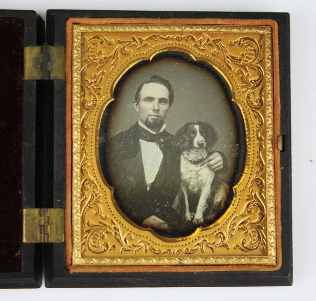 ca 1857 daguerreotype of a man and his dog,  sixth