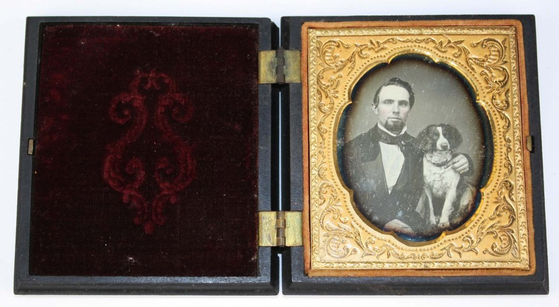 ca 1857 daguerreotype of a man and his dog,  sixth - 2