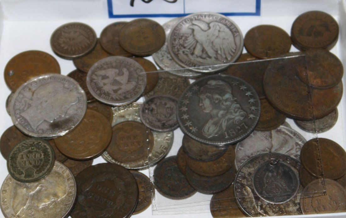 US coins incl 1827 half dollar, other silver