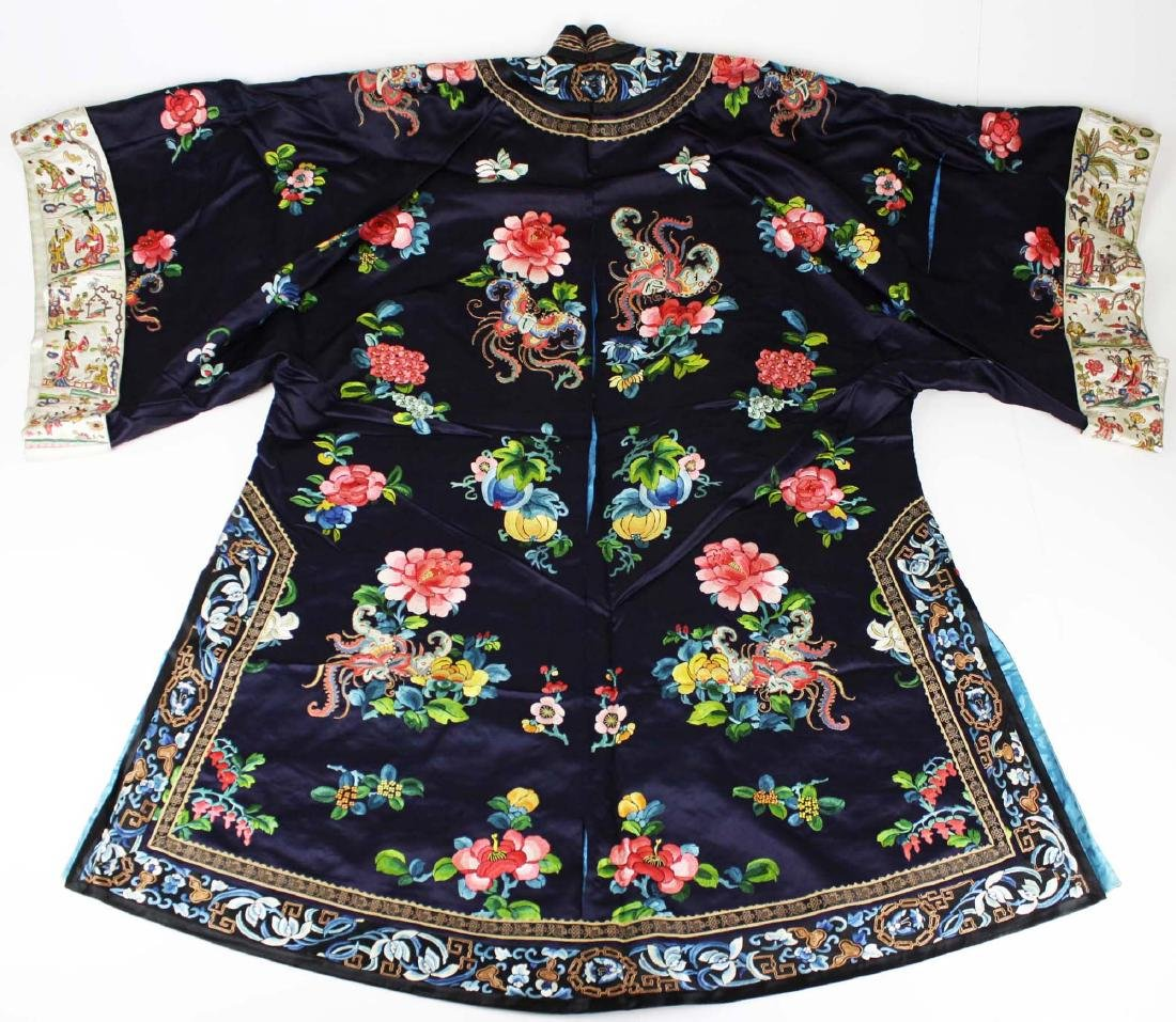 19th c Chinese embroidered purple/blue silk robe.
